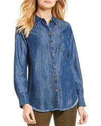 Foxcroft Haven Solid Fringe Hem Button Front Denim Shirt - Blue