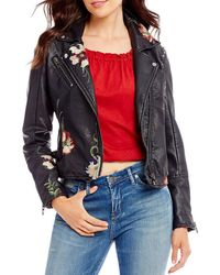 Chelsea & Violet V-neck Embroidered Faux Leather Moto Jacket - Black