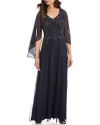 Marina Couture Cape Sleeve Beaded Long Gown - Blue