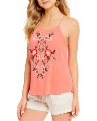 Blu Pepper - Floral-embroidered Tank Top - Lyst