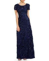 Alex Evenings - Petite Sequined-lace Rosette-rose Gown - Lyst