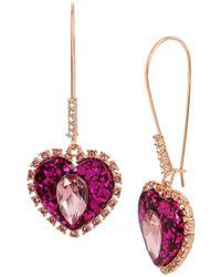 Betsey Johnson Pink Heart Drop Earrings - Multicolour