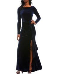 Vince Camuto Long Sleeve Draped Velvet Ruched Gown - Blue