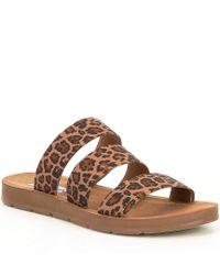 Steve Madden - Pascale Leopard Print Elastic Strap Sandals - Lyst