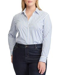 Lauren by Ralph Lauren - Plus Size Striped Button Front Shirt - Lyst