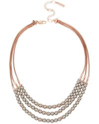 Kenneth Cole Grey Pearl Multi Row Frontal Necklace