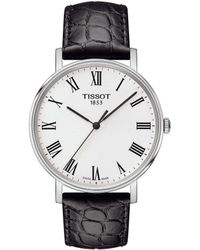 Tissot - Everytime Men's Black Roman Numeral Leather Strap Watch - Lyst