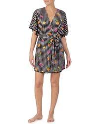Betsey Johnson - Gingham & Schiffli Fruit Print Vintage Terry Short Wrap Robe - Lyst