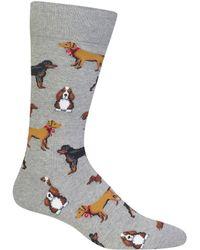 Hot Sox Multi Dogs Crew Socks - Gray