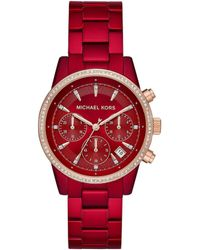 Michael Kors Ritz Two-tone Stainless Steel & Crystal Bracelet Chronograph Watch - Red
