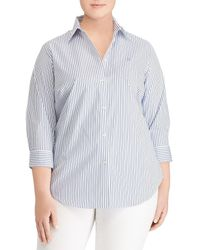 Lauren by Ralph Lauren - Plus Size Stripe Stretch Cotton Shirt - Lyst