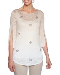 Ruby Rd. - Petite Size Tulip Sleeve Ombre Fade Border Print Embellished Slub Burnout Top - Lyst