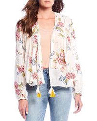 Kut From The Kloth Becca Tassel Tie V-neck Floral Print Peasant Top - White