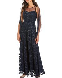 Alex Evenings - Illusion Sweetheart Neck Sleeveless Embroidered Gown With Shawl - Lyst