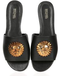 MICHAEL Michael Kors - Shelly Leather Slide Sandals - Lyst