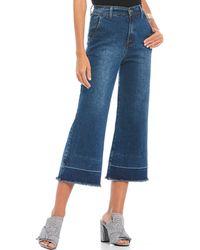 Gianni Bini Kaylee Frayed Cropped Wide Leg Jean - Blue