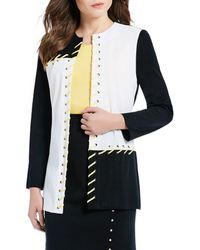 Ming Wang - Jewel Neck Grommet Whip-stitch Colorblock Jacket - Lyst