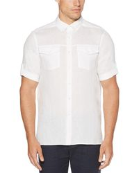 Perry Ellis - Slim-fit Solid Linen Roll-short-sleeve Woven Shirt - Lyst