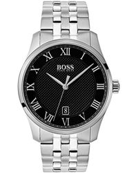 BOSS - Boss The Boss Watches Master Collection Black Stainless Steel Watch - Lyst