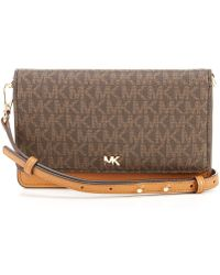 Michael Kors Michael Signature Leather Phone Small Crossbody - Brown