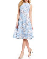 5bb1b25469 Calvin Klein - Sketch Floral Print Illusion Hem Sleeveless Fit   Flare Midi  Dress - Lyst