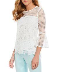 CALVIN KLEIN 205W39NYC - Mixed Eyelet Lace Flare Sleeve Top - Lyst