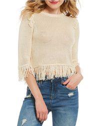 Chelsea & Violet - Fringe Hem Crop Sweater - Lyst