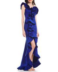 Eliza J One Shoulder Ruffed Front Slit Mermaid Gown - Blue