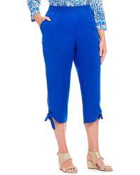 Ruby Rd. - Plus Size Solid Pull-on Tie-hem Details Twill Capri Pants - Lyst