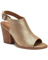 Trask - Parker Metallic Suede Slingback Peep-toe Block Heel Sandals - Lyst