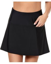 Miraclesuit Solid Fit Flare Skirted With Pocket Swimsuit Bottom - Black