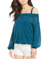 Free People - Sistine Hacci Knit Off-the-shoulder Bubble Sleeve Sweater - Lyst