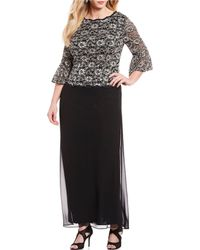 00e74296bf2 Alex Evenings - Plus Size Mock 2-piece Illusion Lace Bodice A-line Gown