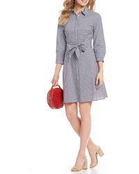 54f8d014ef60f0 Tommy Hilfiger - Novelty Gingham Tie Waist Button Front Shirt Dress - Lyst