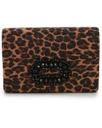 Adrianna Papell - Kimberly Leopard Brooch Clutch - Lyst