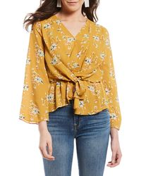 Skies Are Blue - Floral Print Faux Wrap V-neck Long Wide Sleeve Blouse - Lyst