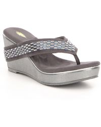 Volatile - Carilla Metallic Embellished Textile Wedge Sandals - Lyst
