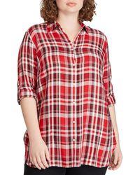 d385b131964 Lauren by Ralph Lauren - Plus Size Plaid Twill Collared Button-down Shirt -  Lyst