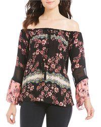 Banjara - Floral Printed Off-the-shoulder Bell Sleeve Top - Lyst