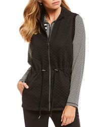 Ruby Rd. - Petite Size Zip Front Stand Collar Quilted Knit Vest - Lyst