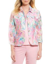 Ruby Rd | Petites 3/4 Sleeve Button Front Peony Garden Print Crinkle Burnout Jacket | Lyst
