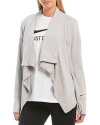 Nike Yoga Collection Long Sleeve Wrap Cardigan - Gray