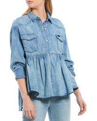 Free People Dylan Chambray Babydoll Shirt - Blue
