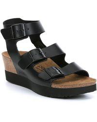 e326abcf113 Birkenstock - Linnea Leather Cork Wedge Sandals - Lyst