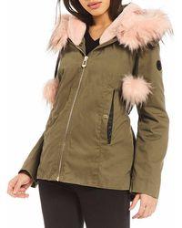 Gianni Bini Faux Fur Hooded Anorak Coat - Green