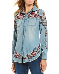 Tasha Polizzi Margaret Rose Embroidered Floral Detail Fringe Hem Snap Front Cotton Shirt - Blue