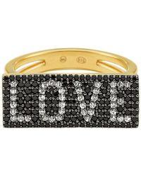 Michael Kors - 14k Gold-plated Sterling Silver Pavé Love Ring - Lyst