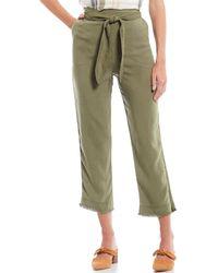 Chelsea & Violet High Waist Belted Frayed Hem Straight Crop Pant - Green