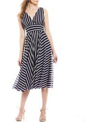 Eliza J Striped Mesh Surplice V-neck A-line Midi Dress - Blue