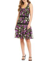 Belle By Badgley Mischka Hattie Floral Embroidered Lace Dress - Black